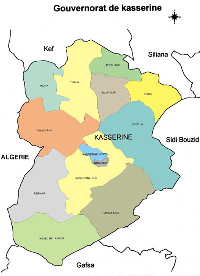 Kasserine Governorate Map, Tunisia