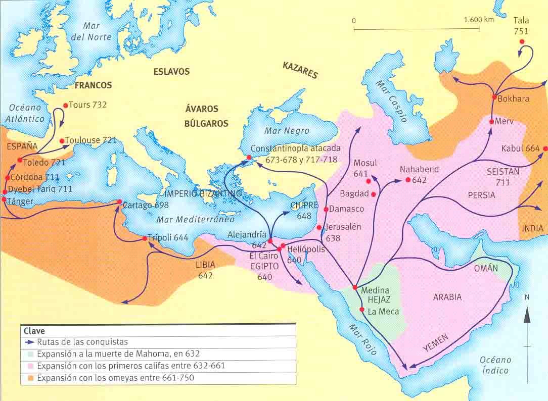 Mapa de La Expansi�n del Islam 632-750
