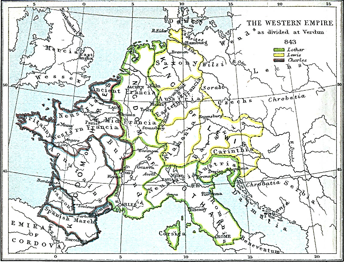 Carolingian Empire after the Treaty of Verdun 843