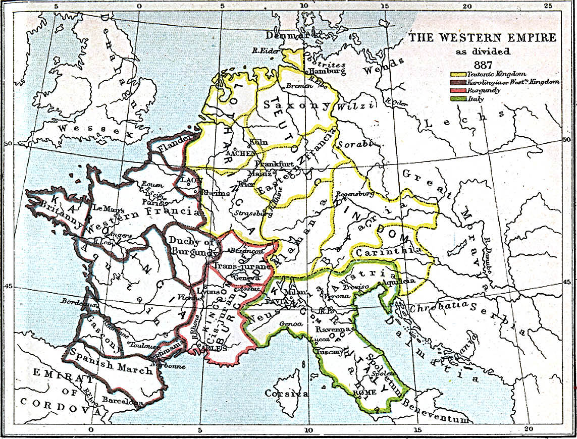 Carolingian Empire division in 887