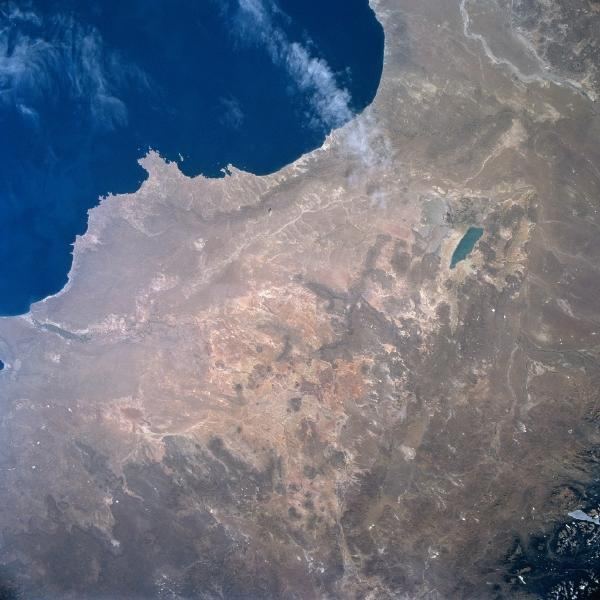 Satellite Image, Photo of Musters Lake, Chubut River, Argentina