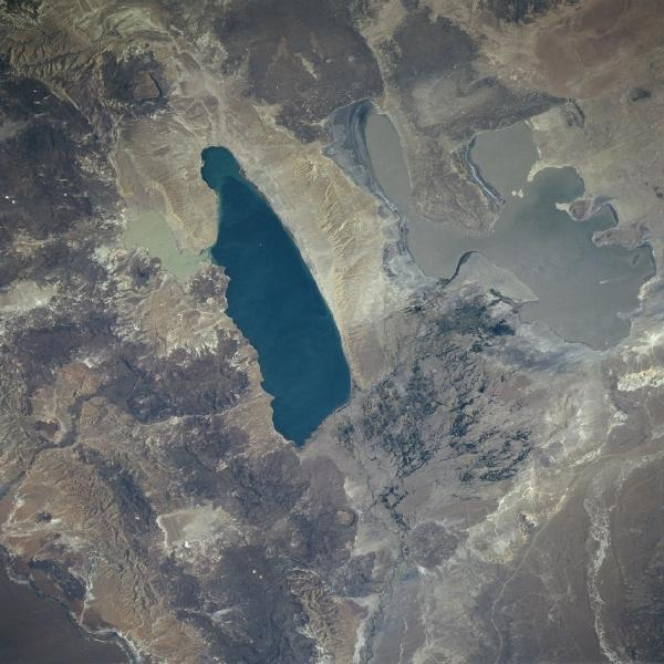 Satellite Image, Photo of Lakes Musters and Colhue Huapi, Argentina