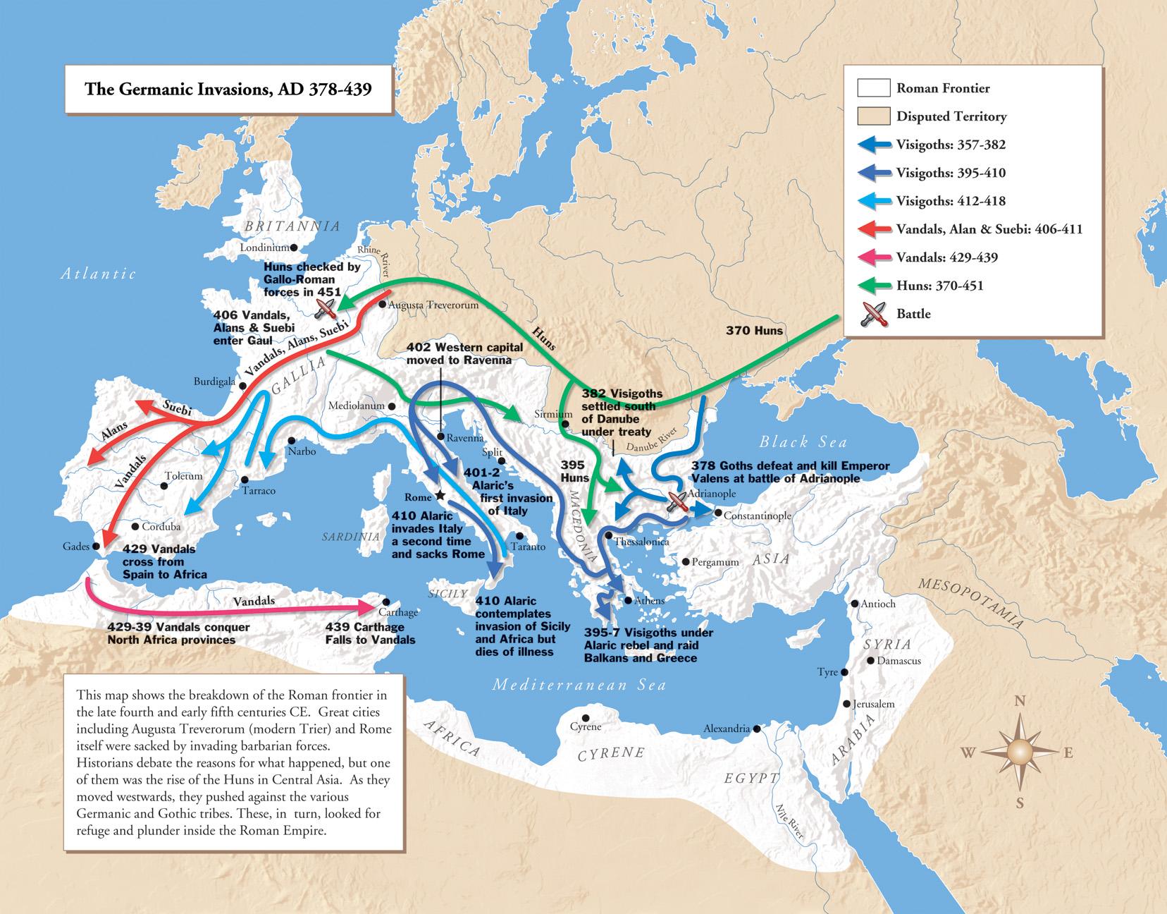 Las invasiones germánicas del Imperio Romano 378-439 dC