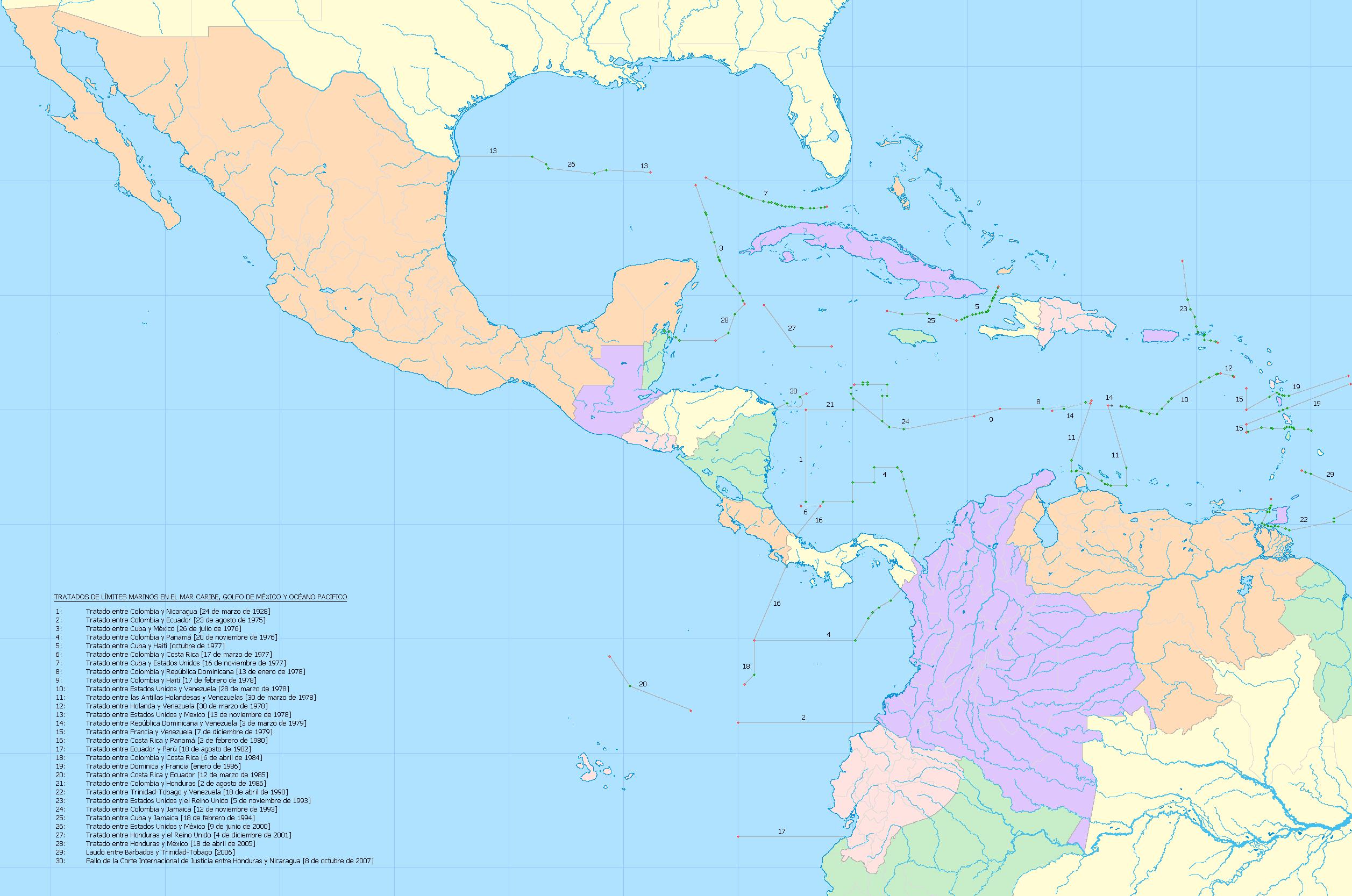 Límites marítimos en el mar Caribe y el Golfo de México 2008