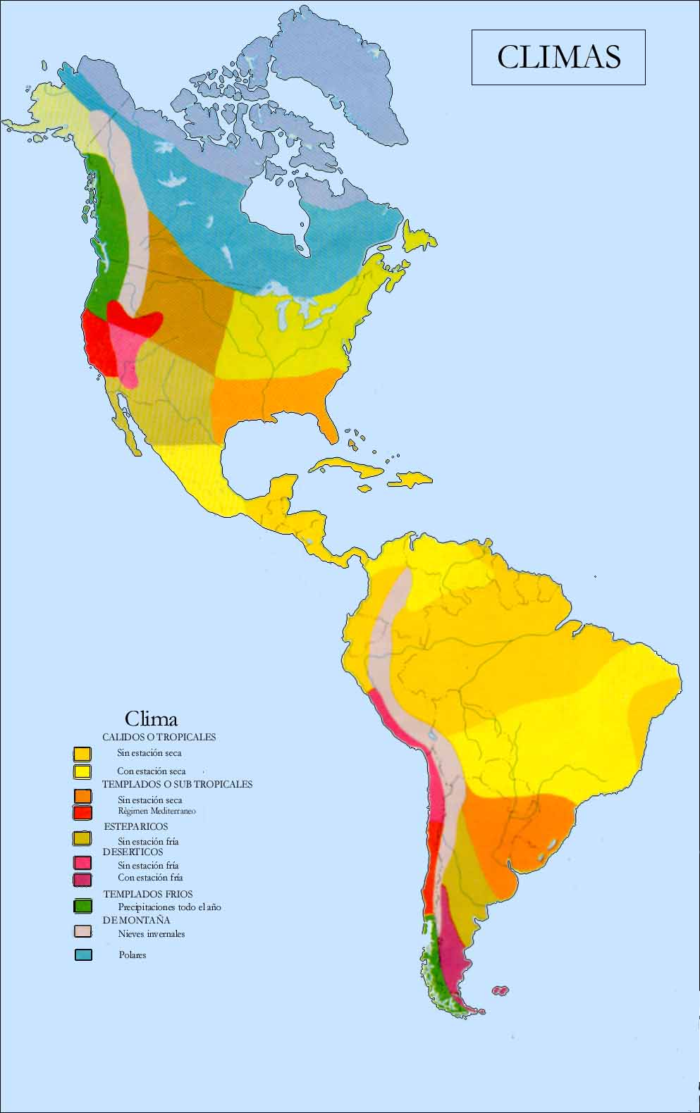 Mapa de Los climas de amrica