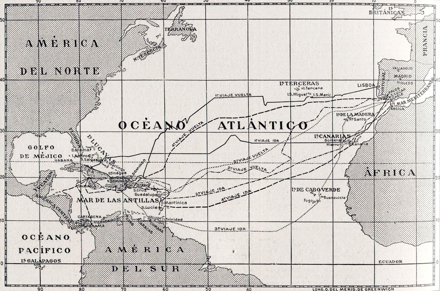 Los viajes de Cristóbal Colón en 1492, 1493, 1498 y 1502