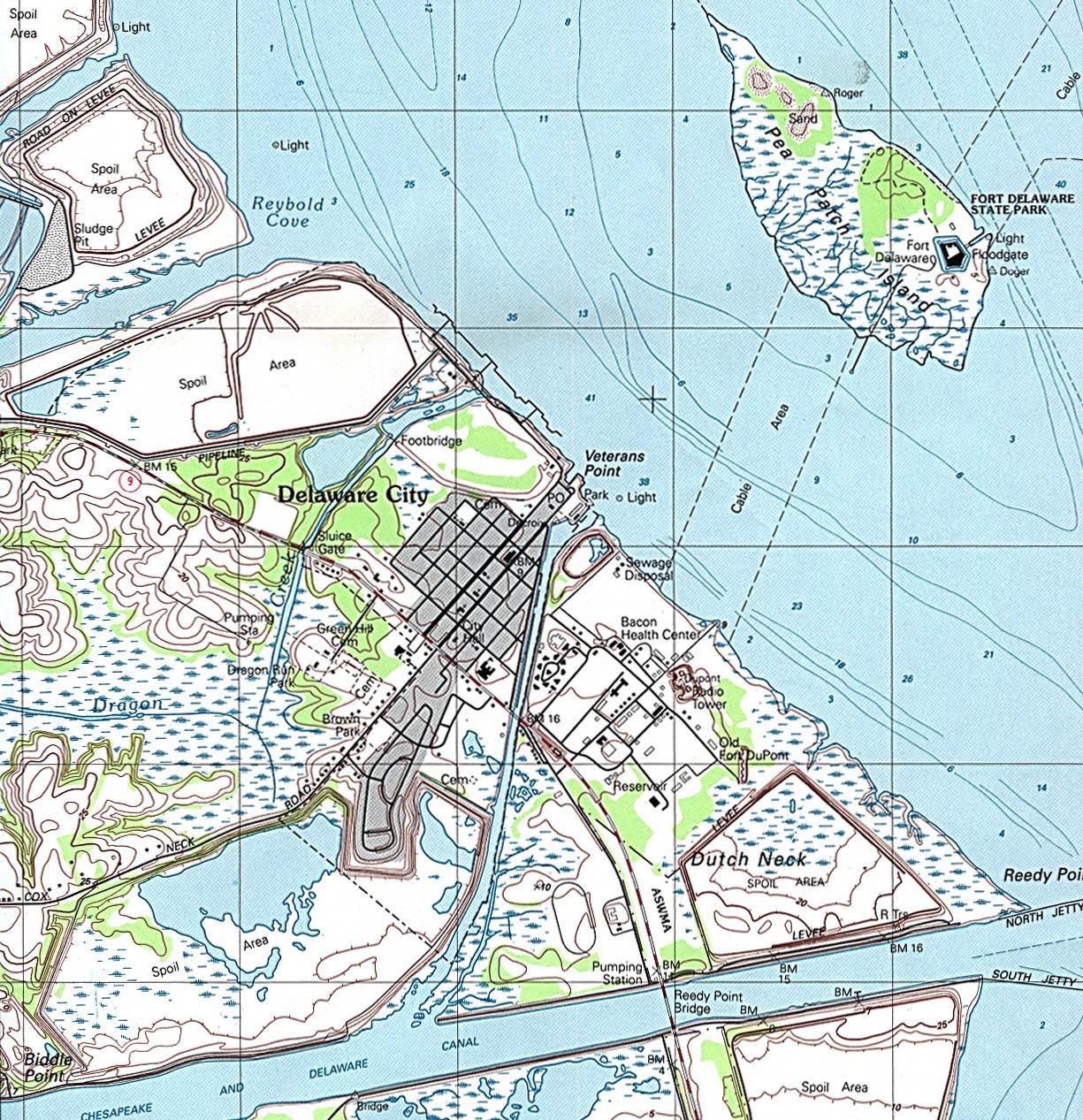 Map Topográfico de la Ciudad de Delaware City, Delaware, Estados Unidos