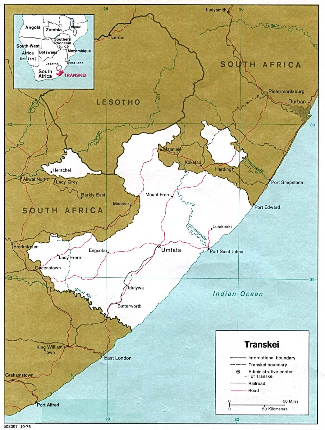 Map de Transkei 1978