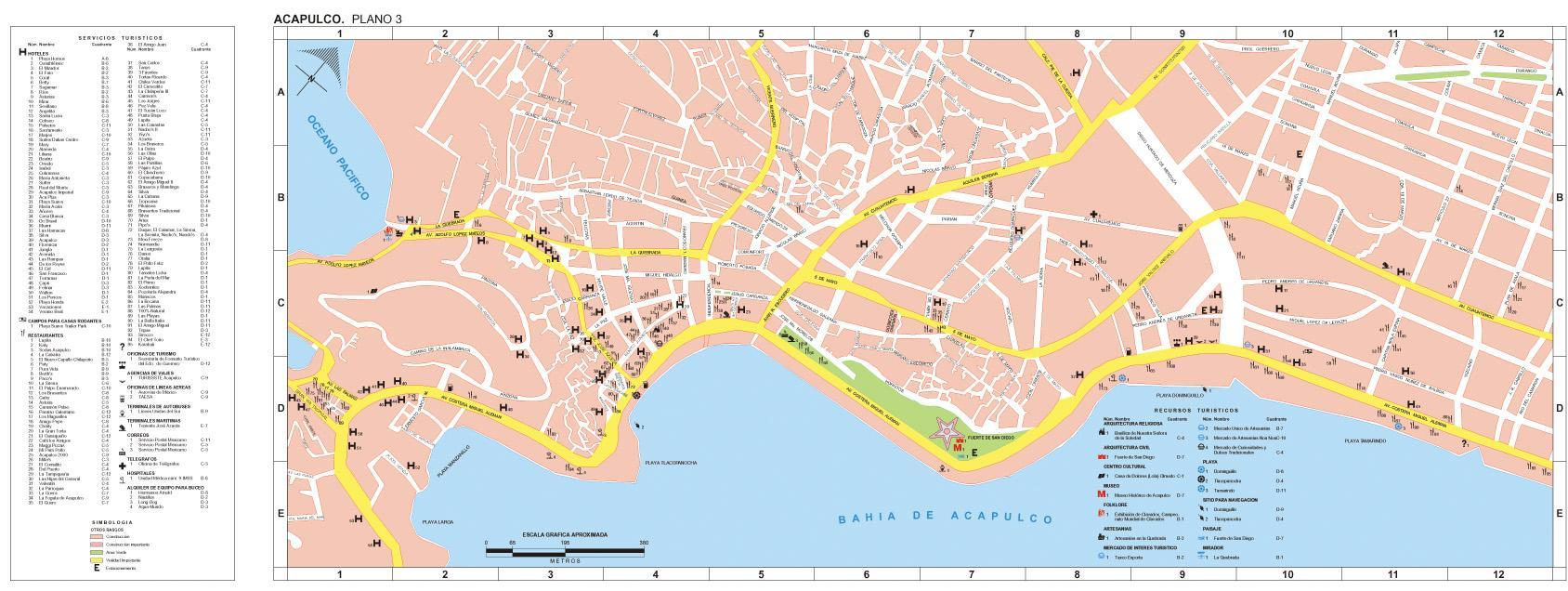 Acapulco Map, Guerrero, Mexico