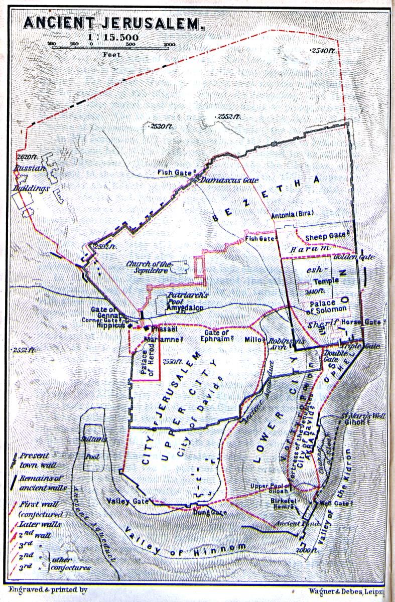 Mapa Antigua de Jerusalén 1912