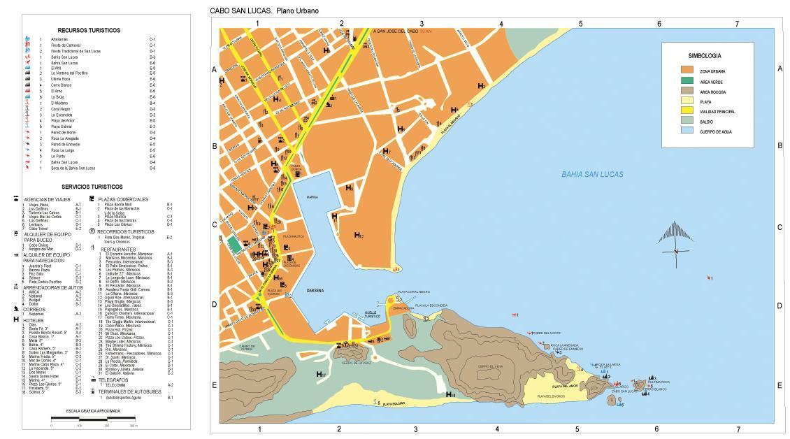 Cabo San Lucas Map, Southern Baja California, Mexico