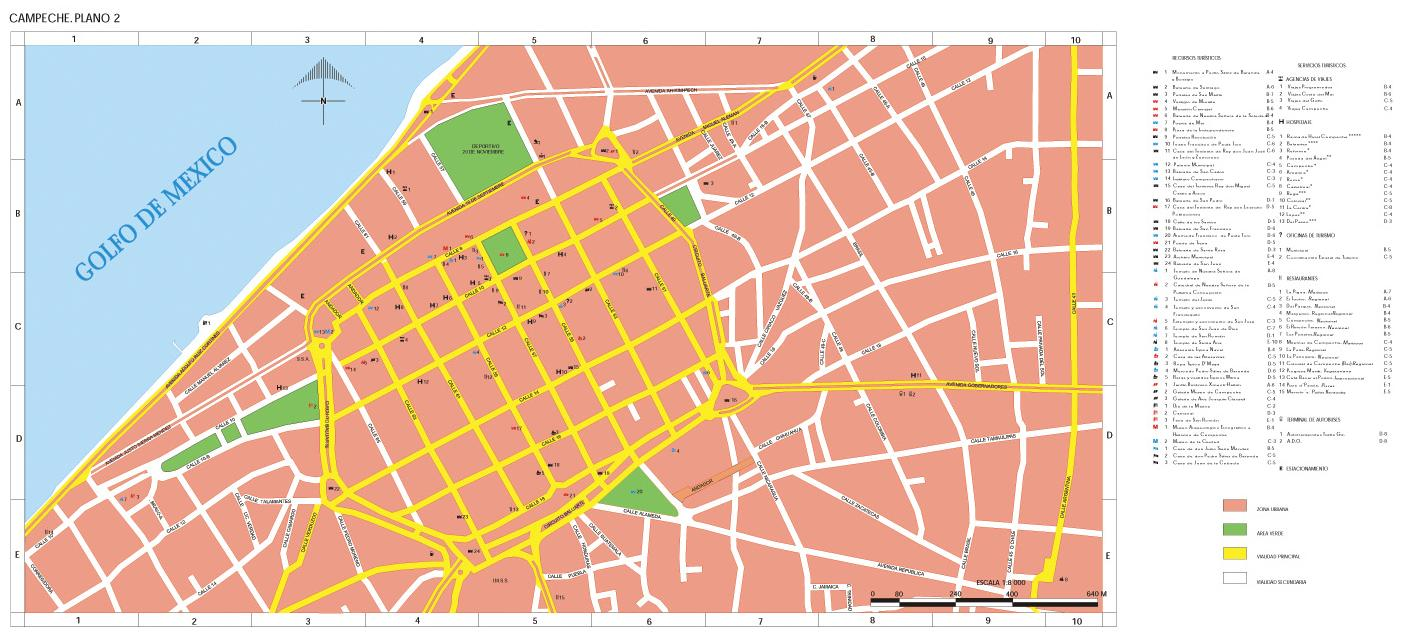 Downtown City Map, Campeche, Mexico