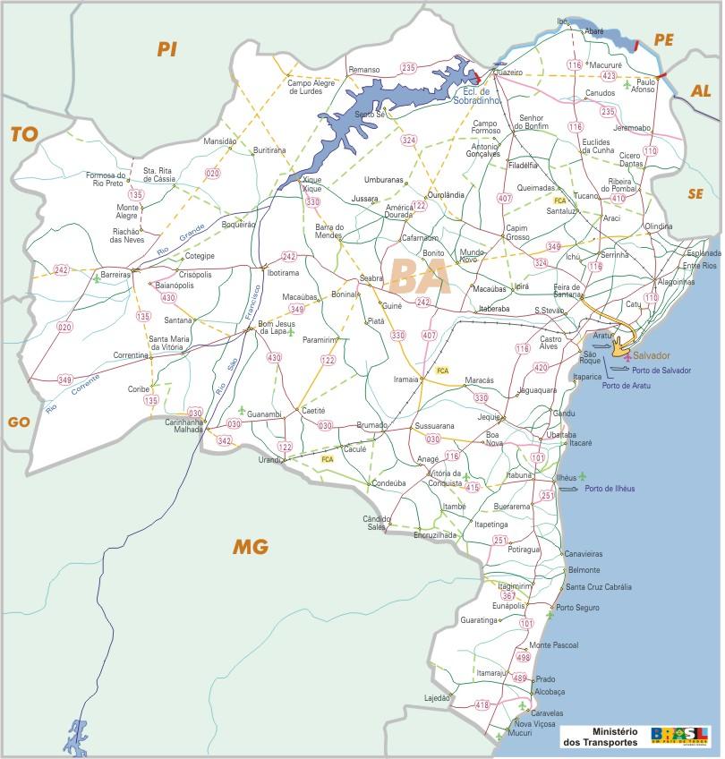 Bahia State, Federal Highway Map, Brazil
