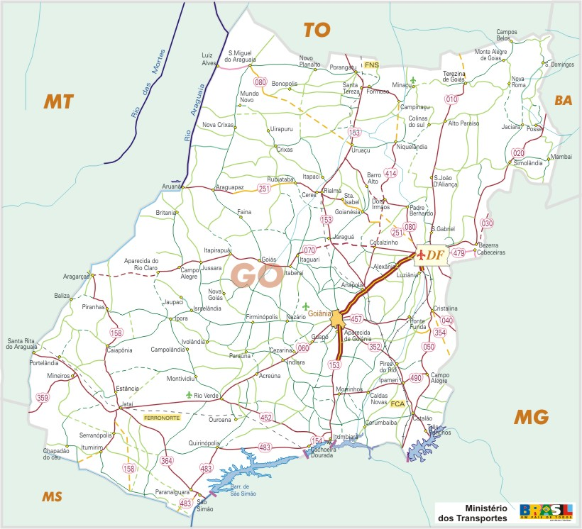 Goiás State, Federal Highway Map, Brazil