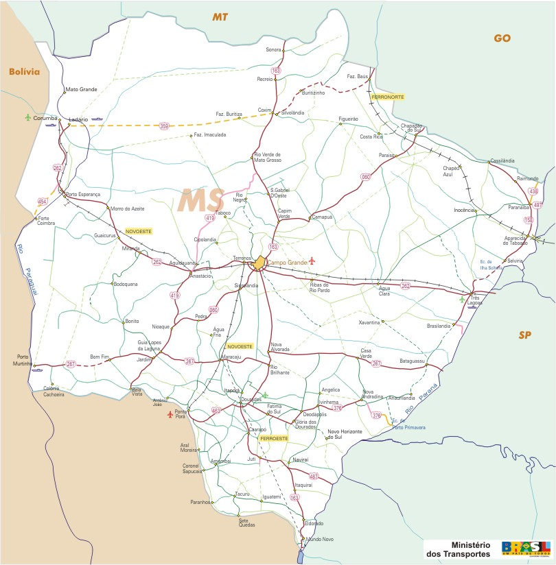 Mato Grosso do Sul State, Federal Highway Map, Brazil