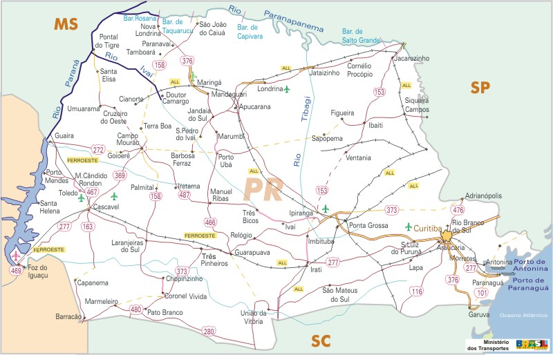 Paraná State, Federal Highway Map, Brazil