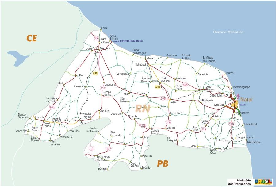 Rio Grande do Norte State, Federal Highway Map, Brazil