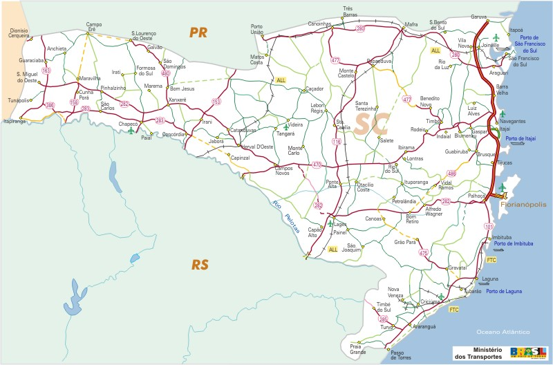 Mapa Carreteras Federales, Edo. de Santa Catarina State, Brasil