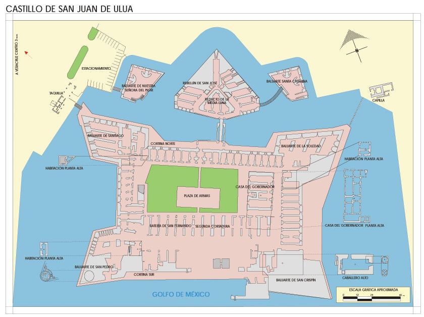 San Juan de Ulúa Castle Map, Veracruz-Llave, Mexico