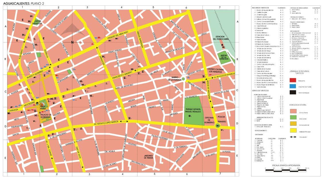 Aguascalientes Downtown City Map, Mexico