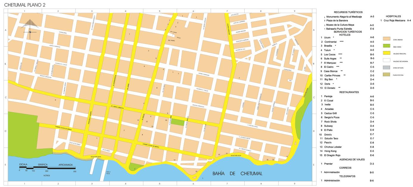 Downtowm Chetumal Map, Quintana Roo, Mexico