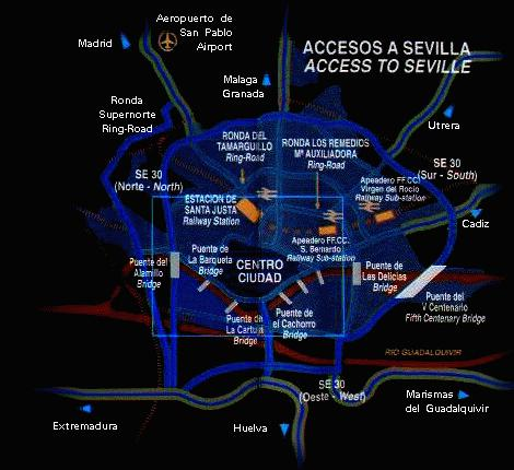 Sevilla City Access Map, Andalucia, Spain