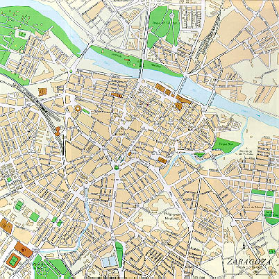 Zaragoza City Map, Spain