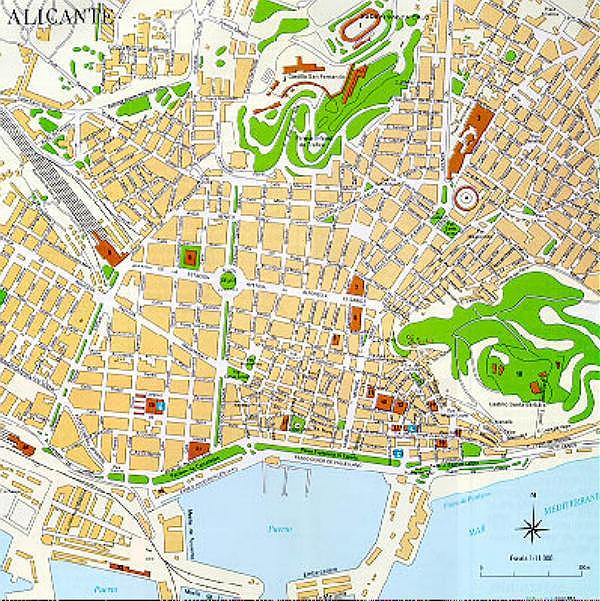 Alicante City Map, Spain