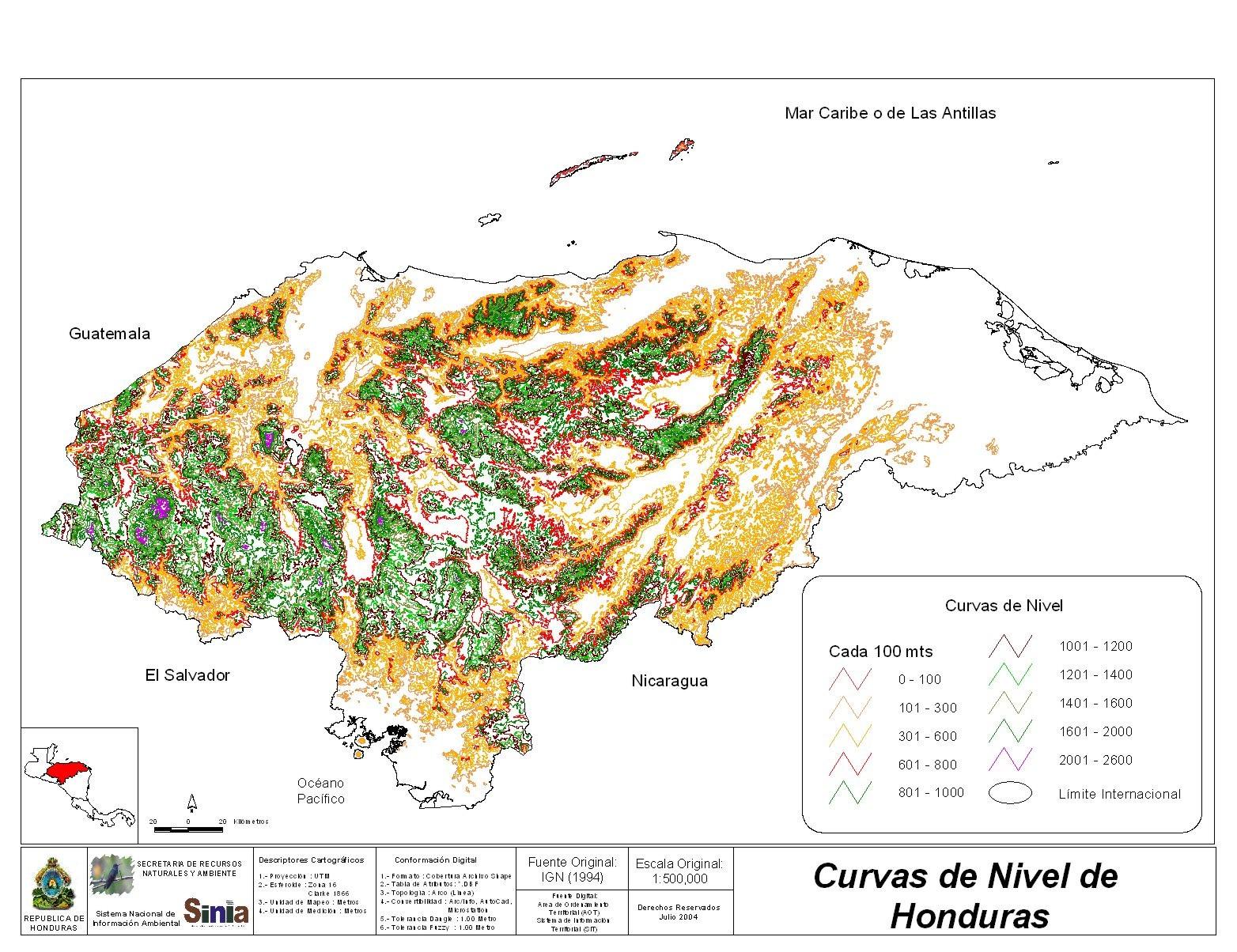 Mapa Curvas de Nivel de Honduras