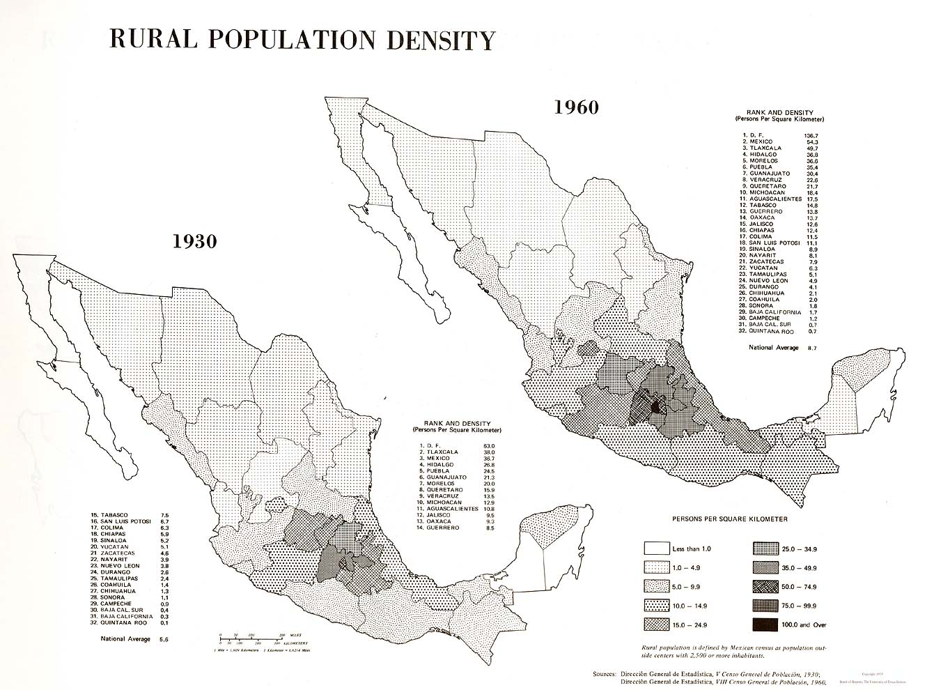 Rural Population Density Map, Mexico 1930, 1960