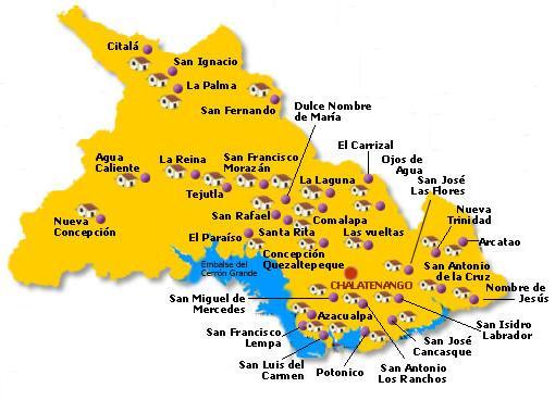Mapa Departamento Chalatenango, El Salvador