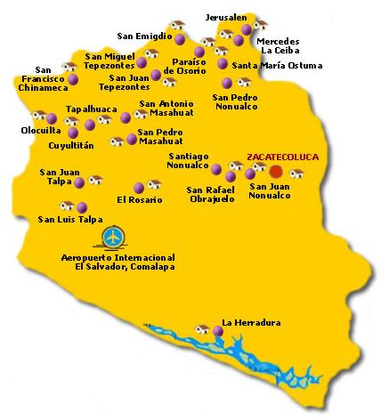 La Paz Departamento Map, El Salvador