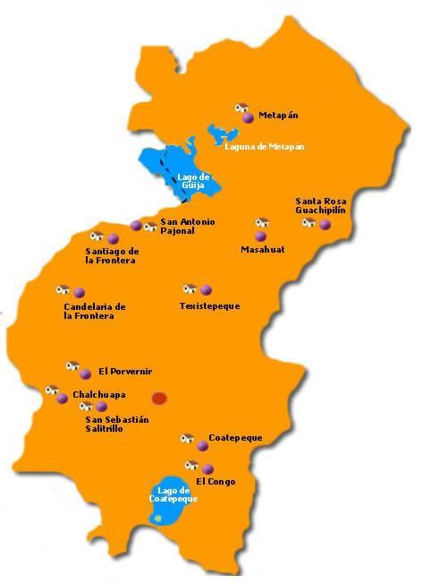 Santa Ana Departamento Map, El Salvador