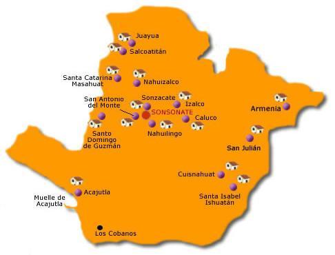 Sonsonate Departamento Map, El Salvador