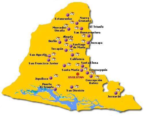 Usulután Departamento Map, El Salvador