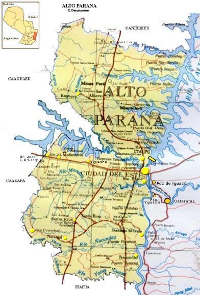 Mapa Departamento de Alto Paraná, Paraguay