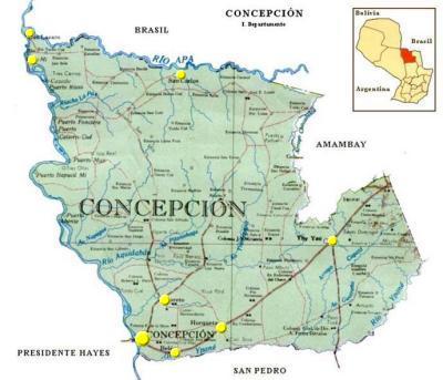 Mapa Departamento de Concepción, Paraguay