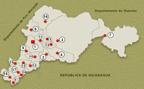 El Paraiso Department Map, Honduras