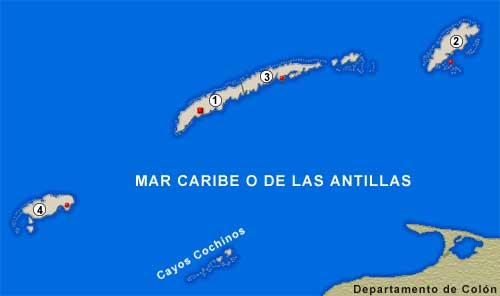 Bay Islands Department Map, Honduras