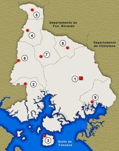 Mapa Departamento de Valle, Honduras