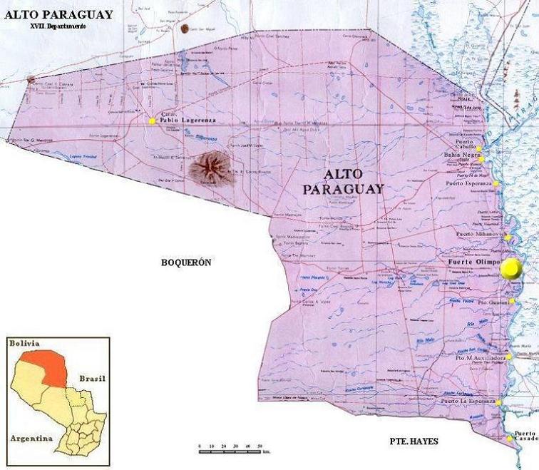Mapa Departamento del Alto Paraguay, Paraguay