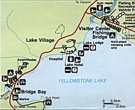 Yellowstone National Park Fishing Bridge Detail Map, Lake Village and Bridge Bay, Wyoming, Montana, Idaho, United States