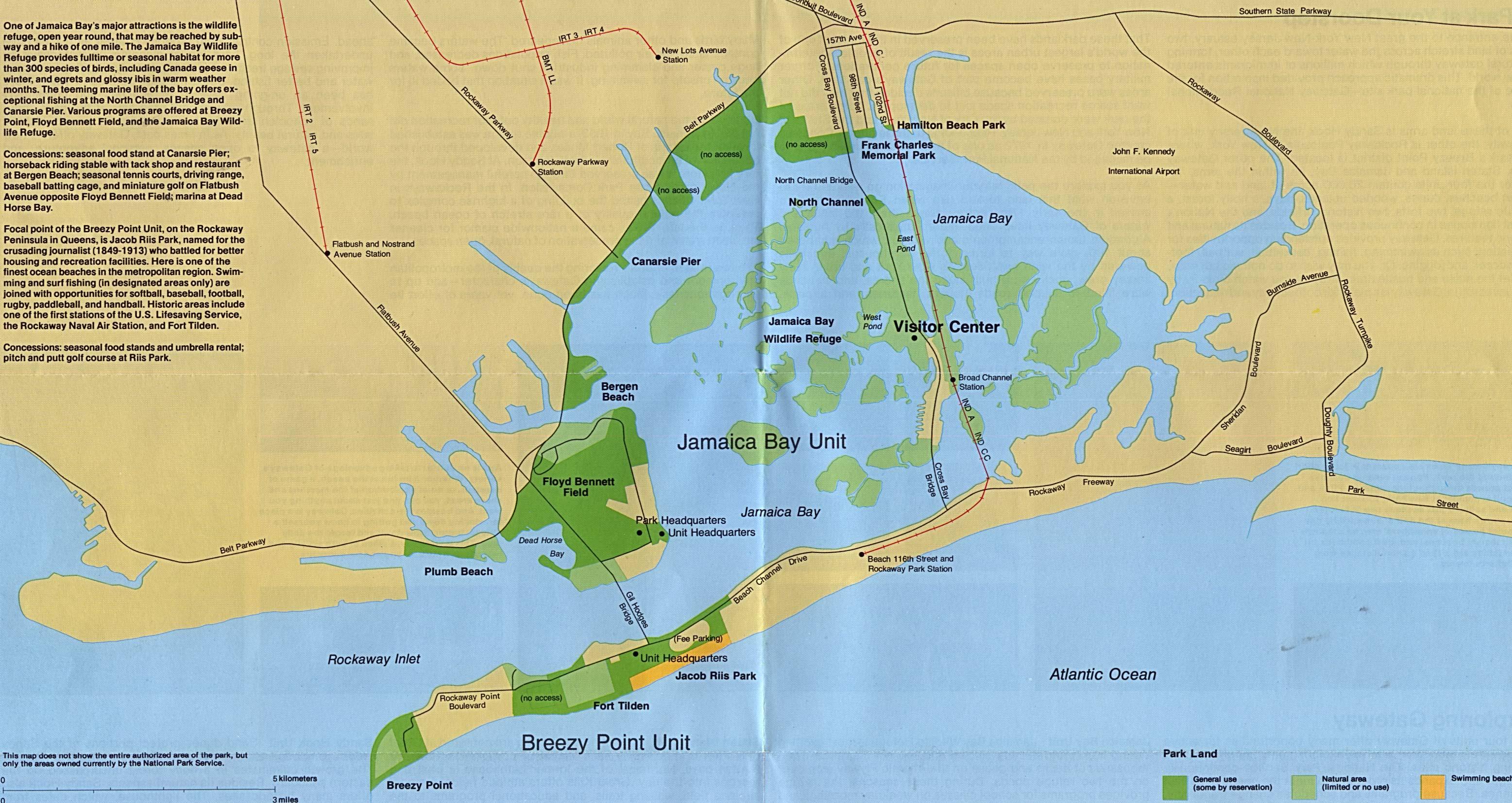 Mapa Detallado de Jamaica Bay y Breezy Point, Área Nacional de Recreación Gateway, Nueva York / Nueva Jersey, Estados Unidos
