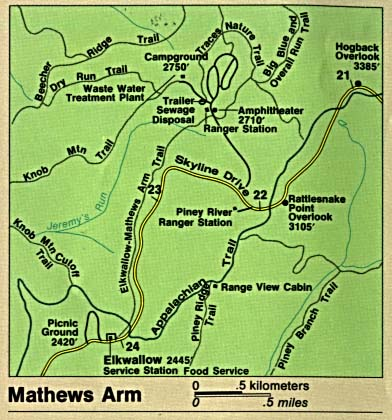 Mapa Detallado de Mathews Arm, Parque Nacional Shenandoah, Virginia, Estados Unidos