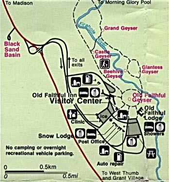 Yellowstone National Park Old Faithful Detail Map, Wyoming, Montana, Idaho, United States