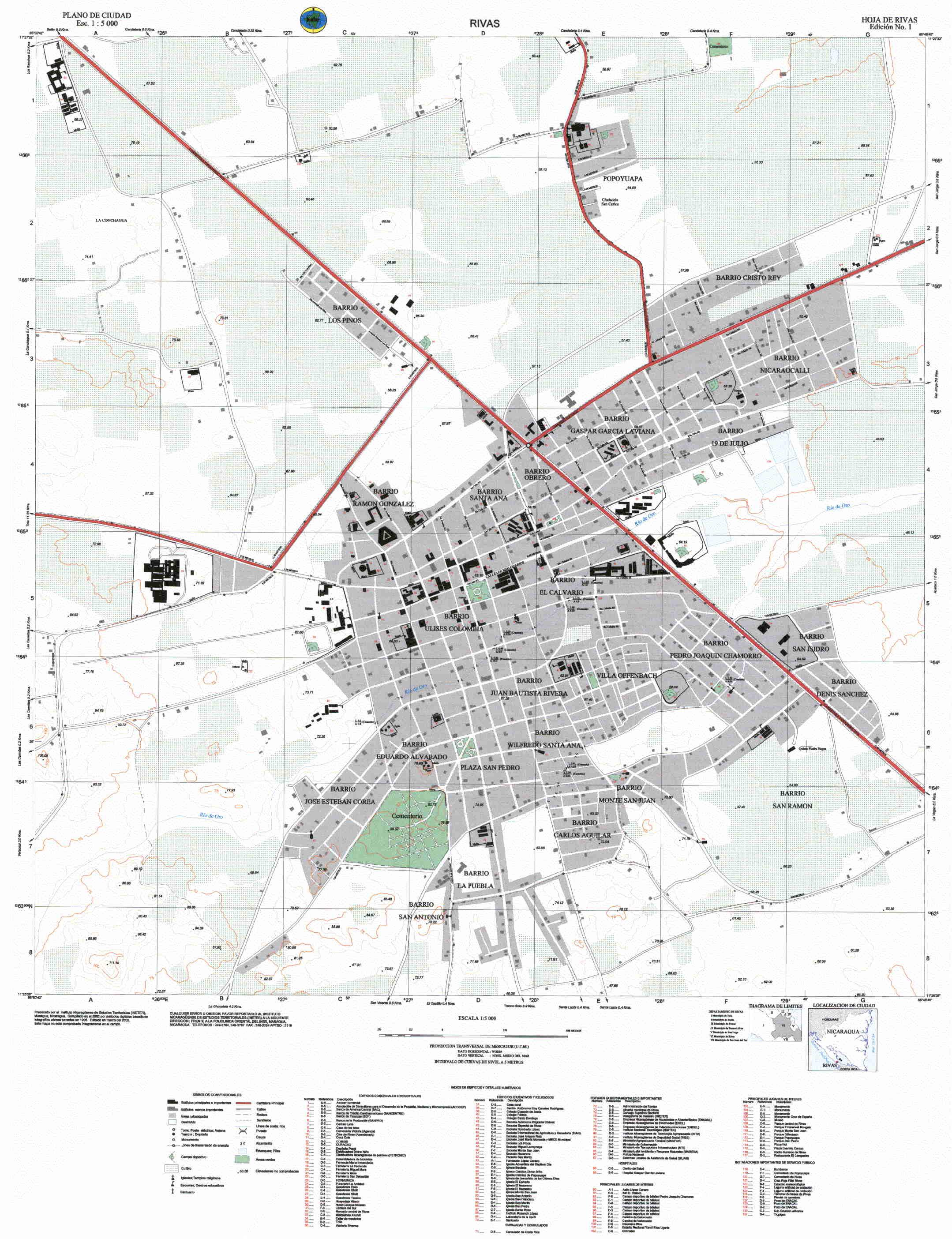 Mapa Detallado de Rivas, Rivas, Nicaragua