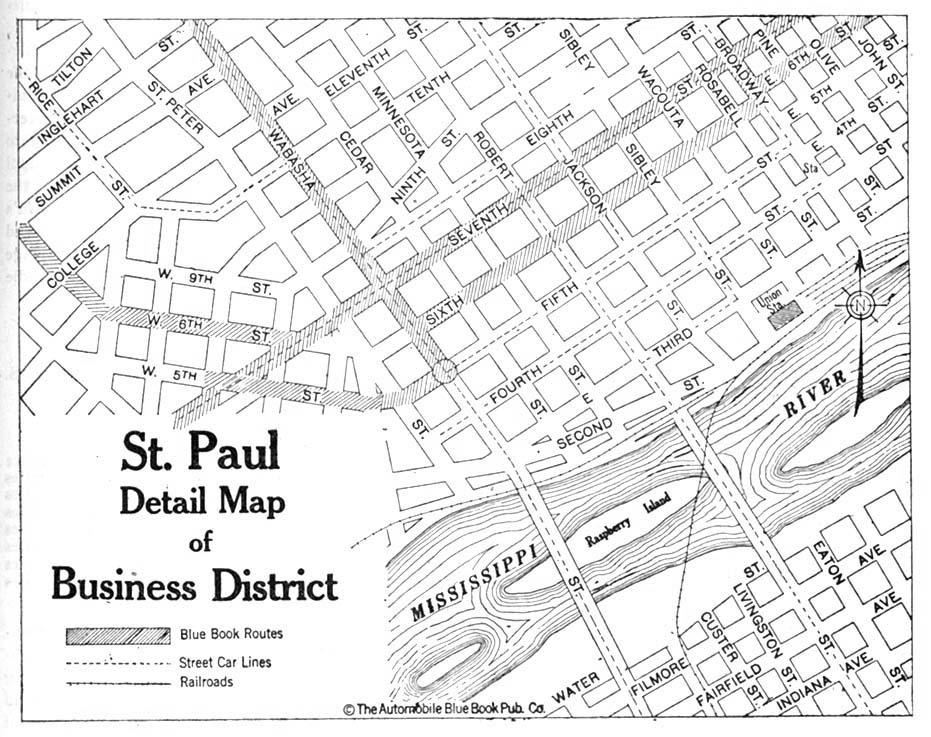 Saint Paul Detail Map, Minnesota, United States 1920