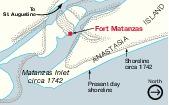 Mapa Detallado de la Entrada de Matanzas (Matanzas Inlet), Florida, Estados Unidos