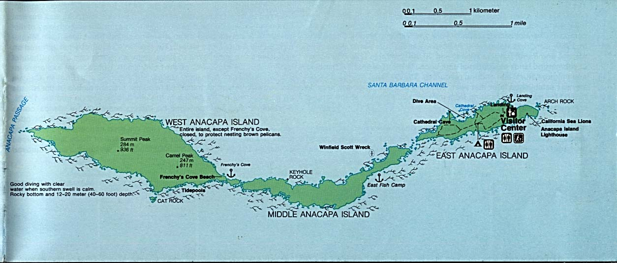 Anacapa Island Detail Map, Channel Islands National Park, California, United States