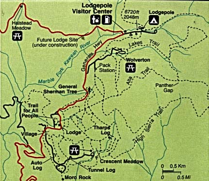 Mapa Detallado de la Región Lodgepole, Parque Nacional Sequoia y Kings Canyon, California, Estados Unidos